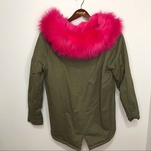 Missguided Jackets & Coats - Missguided Pink And Green Parka Fur Trim Coat